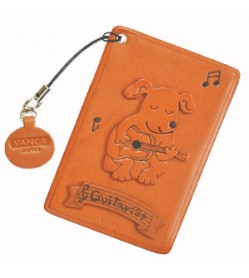 Dog with Guitar Leather Commuter Pass case/card Holders #26426