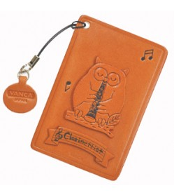 Owl with Clarinet Leather Commuter Pass/Passcard Holders