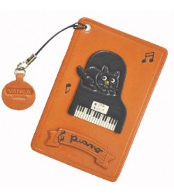 Cat on the Piano Leather Commuter Pass case/card Holders #26431