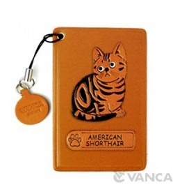 American Shorthair Leather Commuter Pass case/card Holders #26432