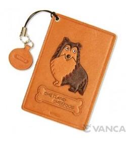Shetland Sheep Dog Leather Commuter Pass/Passcard Holders