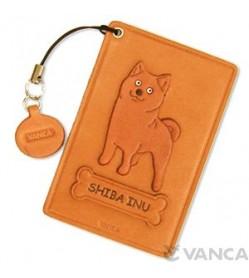 Japanese Shiba Dog Leather Commuter Pass/Passcard Holders
