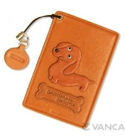 Dachshund Smooth Hair Leather Commuter Pass case/card Holders #26450