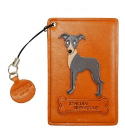 Italian Greyhound Leather Commuter Pass/Passcard Holders