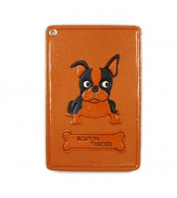 Boston Terrier Leather Commuter Pass/Passcard Holders