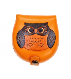 Owl-brown Handmade Genuine Leather Animal Color Coin case/Purse #26088-1