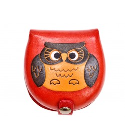 Owl-red Handmade Genuine Leather Animal Color Coin case/Purse #26088-2