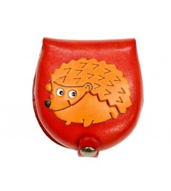 Hedgehog-red Handmade Genuine Leather Animal Color Coin case/Purse #26088-2