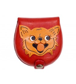 Chihuahua-red Handmade Genuine Leather Animal Color Coin case/Purse #26091-2