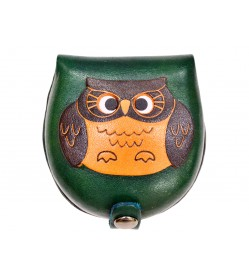 Owl-green Handmade Genuine Leather Animal Color Coin case/Purse #26088-3