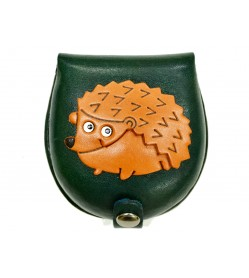 Hedgehog-green Handmade Genuine Leather Animal Color Coin case/Purse #26088-3