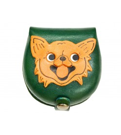 Chihuahua-green Handmade Genuine Leather Animal Color Coin case/Purse #26091-3