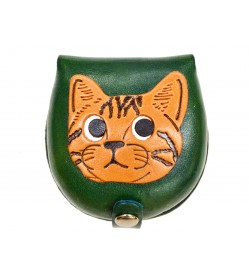 American shorthair -green Handmade Genuine Leather Animal Color Coin case/Purse #26094-3