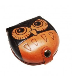 Owl Handmade Genuine Leather Animal Coin case/Purse #26273