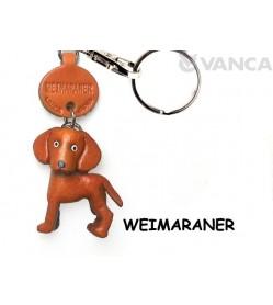 Weimaraner Leather Dog Keychain