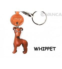 Whippet Leather Dog Keychain