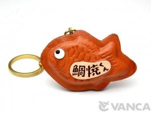 Fish Shaped Pancake Leather Keychain(L)