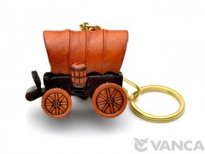 Covered Wagon Leather Keychain(L)