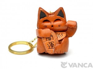 Lucky Cat Leather Keychain(L)