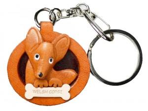 Welsh Corgi Leather Dog plate Keychain