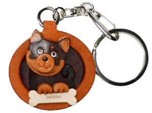 Shiba Black&Tan Leather Dog plate Keychain