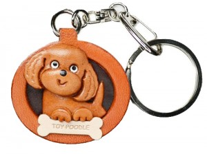 Toy Poodle Leather Dog plate Keychain