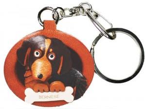 Bernese Mountain Dog Leather Dog plate Keychain