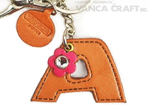 """Initial  """"A"""" Leather Keychain Bag Charm"""