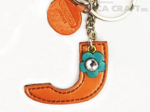 "Initial  ""J"" Leather Keychain Bag Charm"