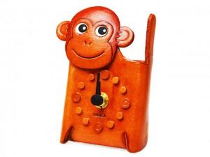 Monkey Japanese Leather Desk Clock #26515