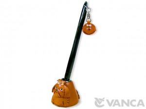 Shih Tzu Leather Desk Pen Stand #26238