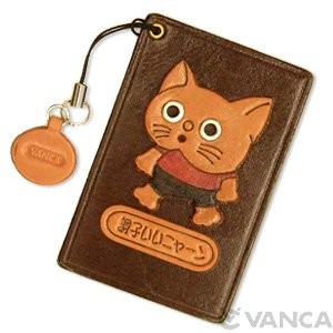 Cat Leather Commuter Pass case/card Holders #26407