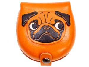 Pug-brown Handmade Genuine Leather Animal Color Coin case/Purse #26093-1