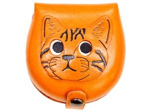 American shorthair -brown Handmade Genuine Leather Animal Color Coin case/Purse #26094-1