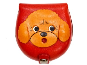 Toy poodle-red Handmade Genuine Leather Animal Color Coin case/Purse #26092-2