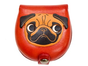 Pug-red Handmade Genuine Leather Animal Color Coin case/Purse #26093-2