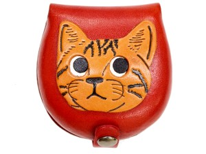 American shorthair -red Handmade Genuine Leather Animal Color Coin case/Purse #26094-2