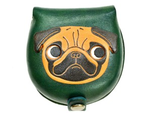 Pug-green Handmade Genuine Leather Animal Color Coin case/Purse #26093-3